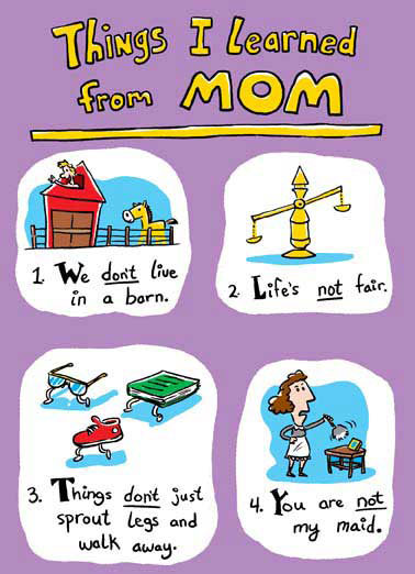 "Things I Learned From Mom Birthday Funny Illustration Card   ""5. If Mom's not happy, nobody's happy! Happy Birthday"""
