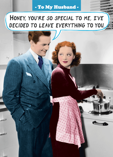 Leave Everything FD Funny Father's Day Card For Husband Happy Father's Day, Honey. | retro greeting card married husband wife kitchen funny joke chores cooking  Happy Father's Day, Honey