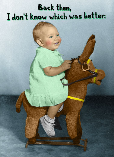 Little Ass Funny Kids Card  A vintage picture of a young child riding a stuffed toy donkey. | child birthday young little ass happy better donkey toy ride   Being young or having a little ass.
