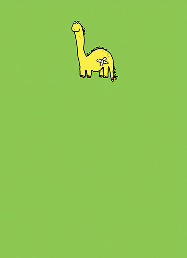 Little Saur Funny 5x7 greeting Card Get Well   Heard you're a little Saur.  Get Well Soon