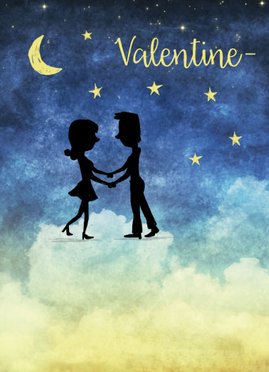 Lo Lo Love Funny Valentine's Day Card  I'm in La La Land when I'm with you! | cute valentine's day valentine romantic clouds stars dancing love moon I'm in La La Land when I'm with you!