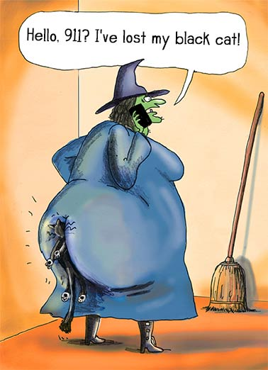 "Funny Halloween Card  ""Hello 911? My cat is missing!"" 