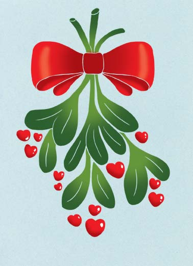 Love and Kisses Funny Christmas  Love An illustration of mistletoe. | illustration green mistletoe bow berries christmas gift gifts kiss kisses wish happy  Merry Christmas with Love and Kisses