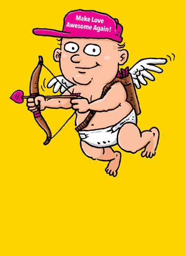 Make Love Awesome Again  Funny Political Card Valentine's Day Cupid wearing a hat that says Make Love Awesome Again | greeting card, card, maga, make america great again, trump, donald trump, president trump, politics, political, white house, washington dc, capitol, love, funny, joke, drumpf, wife, girlfriend, husband, spouse, boyfriend, significant other, like, valentine's day, val, valentine, vd, galentine's day, palentine's day. Say Happy Valentine's Day with this funny greeting card for the President Trump supporter. Personalize and send a Valentine's Day wish with same-day mail and free first-class postage. Aim to have a great Valentine's Day