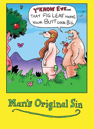 Man's Original Sin Funny 5x7 greeting Card Funny Eden, Adam, Eve, Bible, Genesis, Cartoon  It'd be a sin if I didn't wish you a very happy birthday!