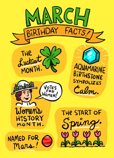 March Birthday Facts Funny St. Patrick's Day Card  Say Happy March Birthday with these fun facts on a greeting card,   Fact: Only the most Awesome People are born in March!