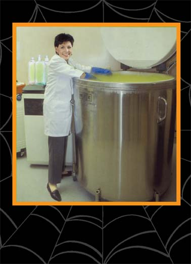 Margarita Halloween Funny Halloween   A woman next to a giant vat filled with margarita. | halloween candy scare scary margarita chemistry science woman mix  It's Halloween and your Margarita is almost ready!