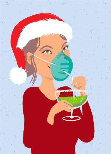 "Mask Straw Christmas Funny Christmas Card Quarantine Send a wish with this fun ""Mask Straw Drink"" Christmas card or Ecard to put a smile on someone's face this holiday season."