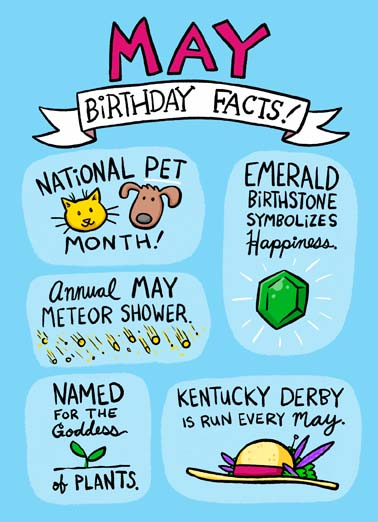 May Birthday Facts Funny Birthday   Some fun Birthday facts for someone who has a May birthday on this funny greeting card,   Fact: Only the most awesome people are born in May!