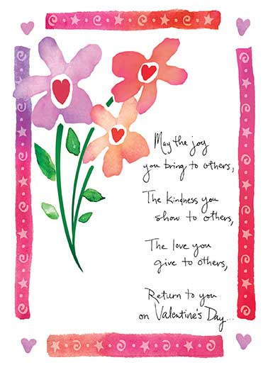 May the Joy Funny Valentine's Day Card For Anyone watercolor, painting, cursive, joy, traditional, verse, phrase, idea, heart, hearts, love, valentine, adorable, sweet, rose, bouquet, flowers, valentine picture, image, romantic, love, kisses, kiss, boyfriend, girlfriend, husband, wife, spouse, significant other, lover, bae, red, personalized valentine card, happy, picture, expression, greeting card, sweet, loving, for her, for him, goofy, hilarious, witty, print, folded card, mail, recipient, february 14, special, wonderful, humor, warm, message, fresh, cute, friend, son, daughter, children, child, family, fun, real cards, printed, animal, whimsical, heart-warming, heart warming, sentimental, from the heart, wish, wishes, note, greetings  And everyday.