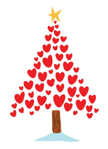 Merry Christmas Heart Funny Christmas Card  Picture of a christmas tree made out of hearts. | Merry Christmas heart hearts star tree pine wood presents xmas Merry Christmas