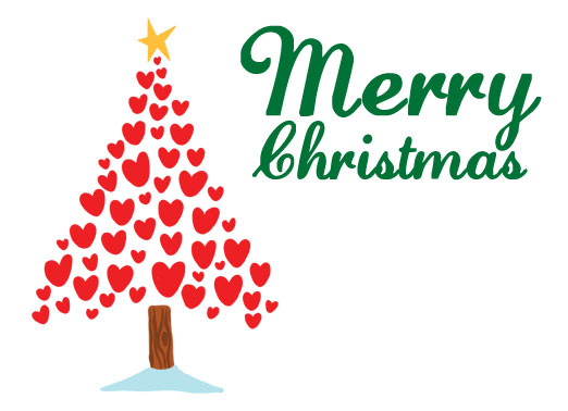 Merry Christmas Hearts CF Funny Christmas Card Happy Holidays An illustration of hearts in the shape of a christmas tree. | merry christmas hearts shape star illustration happy holidays Just a Heartfelt Wish for a Wonderful Holiday.