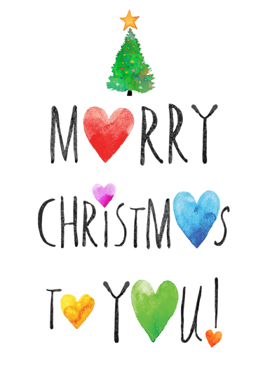 Merry Christmas Hearts Funny Watercolor Wish