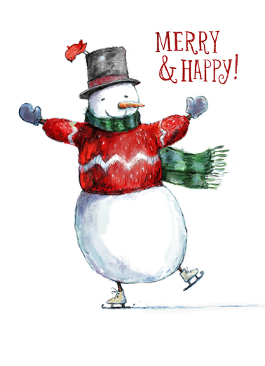 Merry and Happy Snowman Funny Christmas Card  This Christmas, wish all your work customers and contacts the happiest of holidays, season's greetings, and Happy New Year with this new customizable Christmas card.