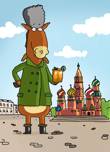 Moscow Mules Funny Birthday Card Drinking A Russian mule with soviet clothing holding a 'Moscow Mule' in Saint Petersburg Square. | drink copper mug mule Moscow soviet hat coat saint St. Petersburg Russia Russian drink spicy ginger beer ale cocktail vodka lime juice wedge donkey cartoon illustration winter cold Putin  For your Birthday, thought I'd treat you to one of those Moscow Mules.