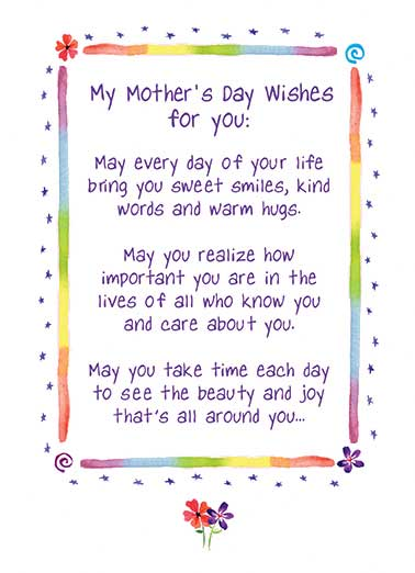Mother's Day Wishes Funny Hug Card Sweet  And may you always know the love of friends and family who mean the most to you. Happy Mother's Day