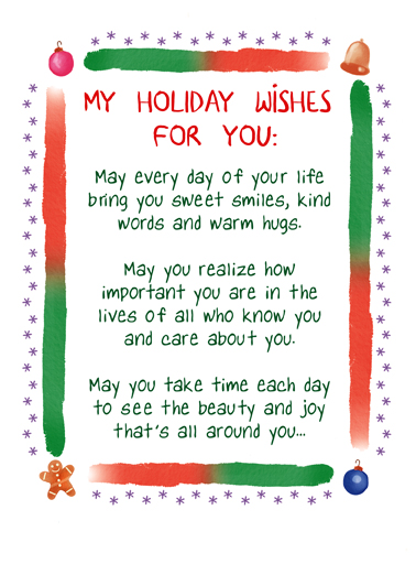 My Christmas Wishes Funny Christmas Card  Sweetest Holiday Wishes for Christmas | watercolor, lettering, white, simple, sweet, hopeful, loving, joy, friends, family  And may you always know the love of friends and family who mean the most to you. Merry Christmas