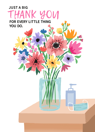 New Bouquet Funny Thank You Card  Let someone know you're thinking of them by sending a personalized greeting card today! | social distancing quarantine thoughts prayers thank you appreciate warm wishes  Just wanted you to know we appreciate you so much!
