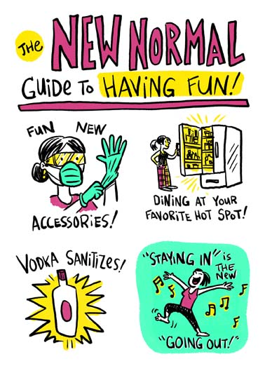 New Normal Guide to Fun Funny  Card  The new normal guide to having fun includes fun new accessories like gloves and masks on this funny birthday card, say happy birthday with this new normal guide to having fun during the coronavirus quarantine, funny birthday card with a new normal guide to having fun, Wishing you more fun than normal on your Birthday.
