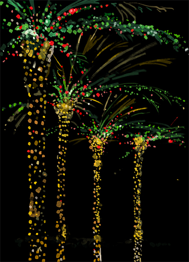 Night Lit Palms Funny Christmas Card  This Christmas, wish all your work customers and contacts the happiest of holidays, season's greetings, and Happy New Year with this new customizable Christmas card.
