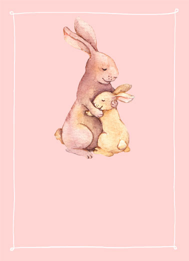 No Bunny Like Mom Funny Love Card Easter An illustration of a mom bunny hugging her baby bunny. | bunny rabbit mom mother mother's day love hug embrace squeeze  There's no bunny as wonderful as mom!