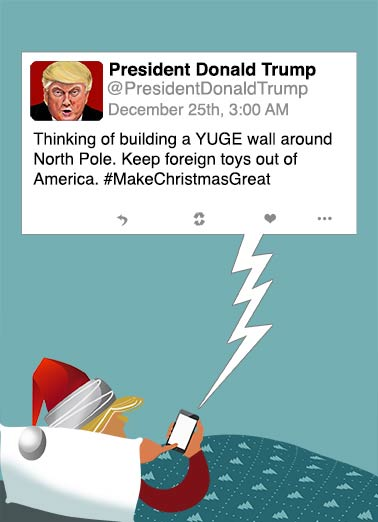 Season's Tweetings Funny Christmas Card Funny Political Season's Tweetings at Christmas | Trump, President elect vp funny santa hilarious holiday seasons tweet twitter Christmas new year  Season's Tweetings