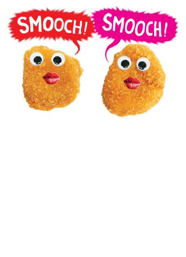 Nuggs Funny Valentine's Day  Hug Picture of two chicken nuggets 'smooching'. | chicken nuggets kiss lips happy Valentine's Day sending love Sending you Nuggs and Kisses for Valentine's Day.