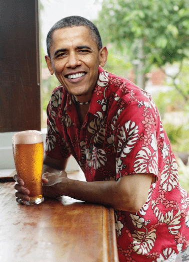 Obama Relaxing Drink Funny Birthday Card Beer Obama Relaxing Drink, Miss Me? | President Obama Barack beach sun alcohol drink smiles missing missed happy birthday funny political Trump  Miss Me?