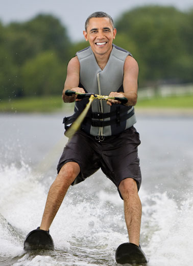"Obama Skiing Funny Megan Card  So how's that ""Making America Greater"" thing working out for you?  