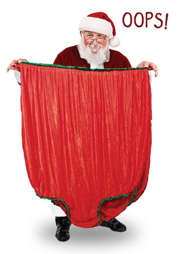 Funny Christmas Card  Santa holding large underwear | santa claus underwear large panties sack gifts presents ,