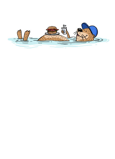 Otter With Burger FD Funny  Card  Send Dad a personalized greeting card just in time for Father's Day! | otter floating funny on back hot dog on belly silly son daughter love otterly pun  Wishing you an otterly wonderful Father's Day!