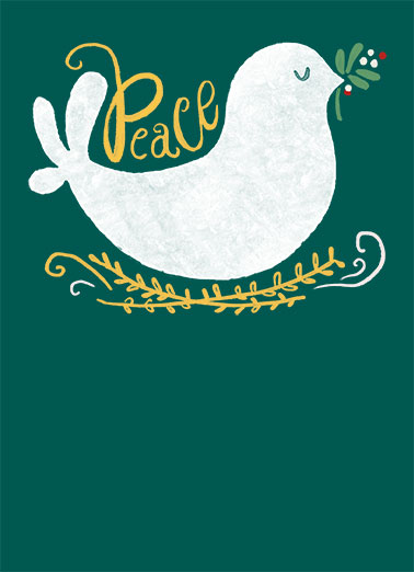 Peace Dove Green Funny Christmas Card  This Christmas, wish all your work customers and contacts the happiest of holidays, season's greetings, and Happy New Year with this new customizable Christmas card.