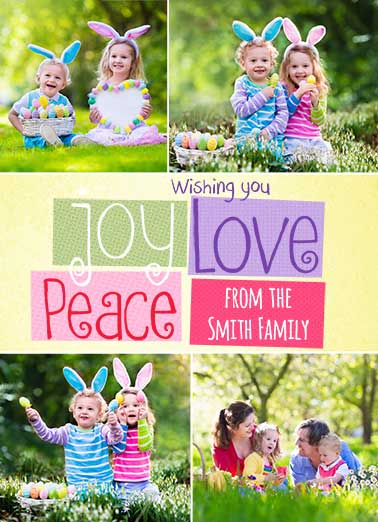 Peace Joy Love Funny Easter Card Add Your Photo  And a Very Happy Easter!