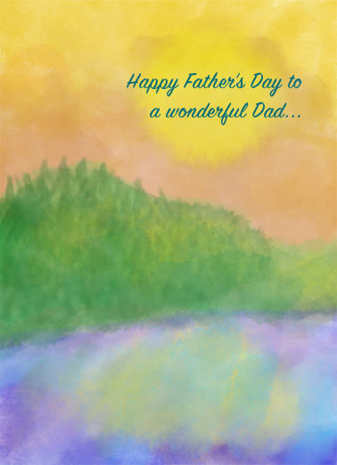 Perfect Wonderful FD Funny  Card  Send Dad a personalized greeting card just in time for Father's Day! |watercolor sunset outdoors hopeful grateful best fun fantastic love cherish enjoy  Wishing you a day that's as fun and fantastic as you are!