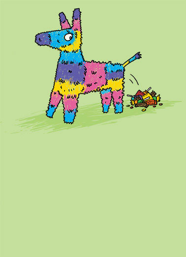 Pinata Funny Illustration Card   OH POOP... Another Birthday