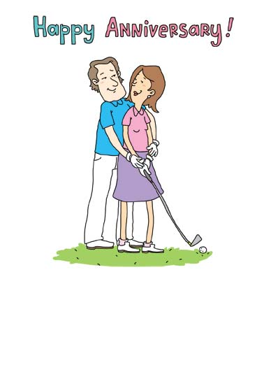 Funny Anniversary   Time to play around on our anniversary | golf drive tee box swing cartoon illustration time play couple married love anniversary glove club hold hug kiss smile ball close ,  Time to play AROUND!