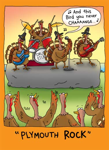 Plymouth Rock Funny Thanksgiving Card  Plymouth Rock illustration cartoon turkey drum stix solo guitar sing pilgrim bass groupie thanksgiving bird stick hat buckle fall   Hope your Thanksgiving ROCKS!
