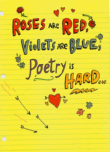 Poetry Is Hard Funny Valentine's Day Card For Bae   Nice Butt...Happy Valentine's Day