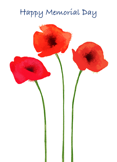 "Poppy Memorial Funny Flowers Card  Send a wish with this ""Red Poppies"" Memorial Day card or Ecard to put a smile on someone's face today... and we'll include Free first-class postage on all printed cards and a free printout link on all Ecards that arrive instantly. Today and every day, we remember."