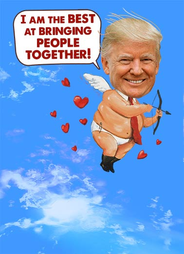 "President Cupid Funny Valentine's Day   President Trump's Very Wonderful Valentine | heart, love, val, angel, cupid, sweet, stupid, sky, the best, fun, loving, political, humor  Happy Valentine's Day from Cupid's cousin, ""Stupid."""