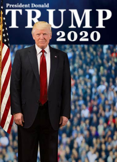 President Trump 2020 Funny Birthday Card Funny Political President Trump 2020 - Scary! | president, trump, official, funny, flag, campaign, portrait  (As if getting older isn't scary enough.)