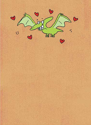 Pterodactyl Funny Valentine's Day Card For Kid  I Ptotally think you're Pterrific!  Happy Valentine's Day