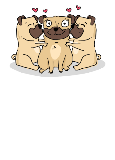 Pug Cartoon Hug Funny  Card  Send someone a cute pug greeting card for their birthday today! | Happy Birthday Pug cute sweet nice illustration   Happy Birthday with Pugs and Kisses!