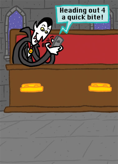 Funny Halloween Card  Dracula tweeting | cartoon, comic, crypt, tweet, twitter, funny, lol, social media, vampire,