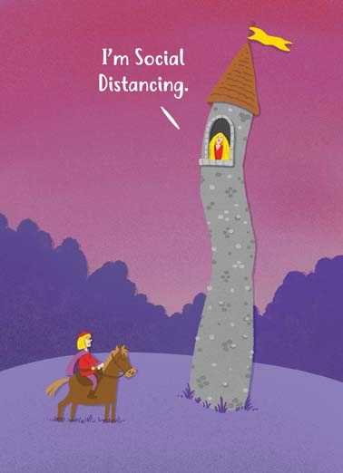 Rapunzel Valentine's Day Funny Valentine's Day Card Funny Rapunzel is socially distancing in her tower on this funny covid qurantine valentine's day greeting card,  It's Valentine's Day, let your hair down!