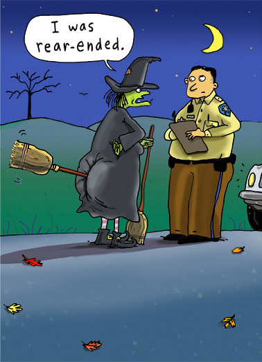Funny Halloween Card  More than a fender bender for this witch | funny, cartoons, comic, witch, police, silly, fun, panel, halloween, wreck,