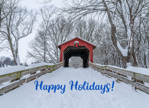 Red Bridge Holidays Funny Christmas Card Happy Holidays Send a personalized greeting card just in time for the Holiday season! | Merry Christmas happy holidays season's greetings joyful snow wonderful time of year  Best Wishes for a joyful holiday season.