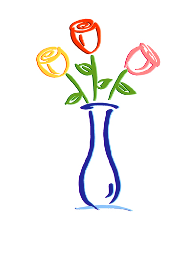 Rose Vase Funny One from the Heart Card  Colorful Roses | vase, sweet, traditional, painting, logo, growing, sweet, bright, colorful, beautiful, artwork, artistic, drawing, colors, floral, flowers, bouquet  Wishing you a bright and happy birthday.