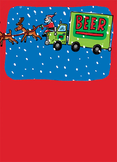 Santa Beer Truck Funny Christmas Card Cartoons santa, beer, truck