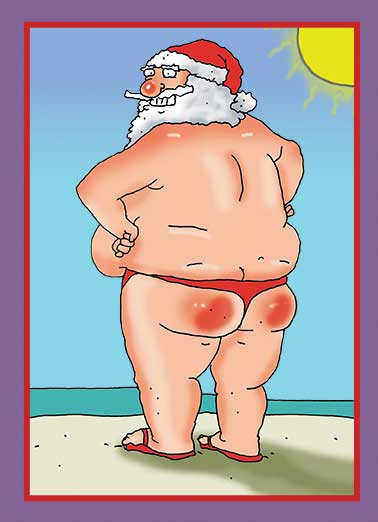 Santa Sunburn Funny Christmas Card Cartoons